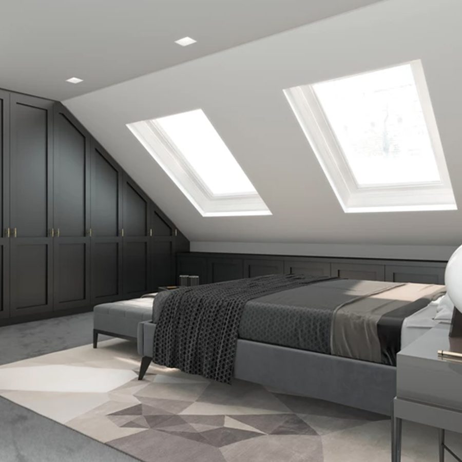 Loft made by a specialist in London with two windows
